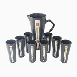 Mid-Century French Black Ceramic Orange Juice Jug and 9 Cups, 1950s