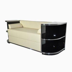 Verchromtes Art Deco Sofa, 1920er