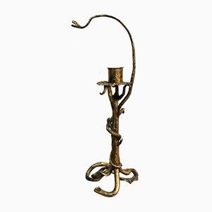 Antiker neogothischer Kerzenhalter aus vergoldeterm Eisen, 1910er