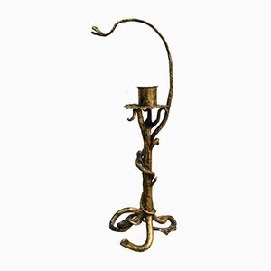 Antique Neo-Gothic Sculptural Gilt Iron Candlestick, 1910s