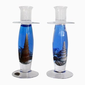 Bougeoirs Sea-World Vintage en Verre, 1980s, Set de 2