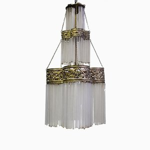 Lámpara colgante antigua de vidrio y latón de tres niveles