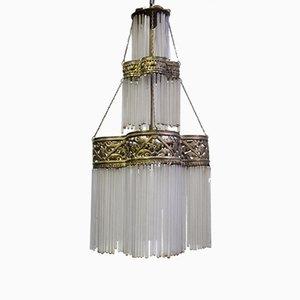 Lampe à Suspension Antique 3-Niveaux en Laiton & Verre