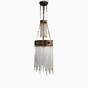 Lampe à Suspension en Laiton & Verre, Espagne, 1900s