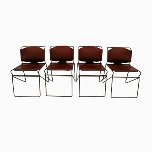 Italian Leather Industrial Geometric Chairs, 1980s, Set of 4