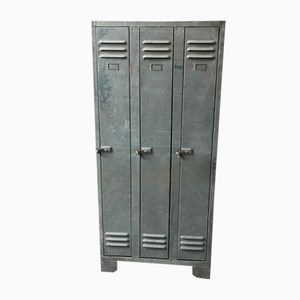 Industrial Metal Locker with Three Doors, 1950s