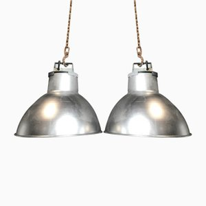 Industrial Metallic Lamps, 1970s, Set of 2
