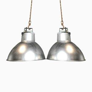 Lampade industriali metalliche, anni '70, set di 2