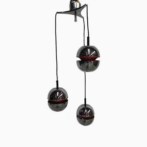 Lámpara colgante vintage con 3 esferas, años 70