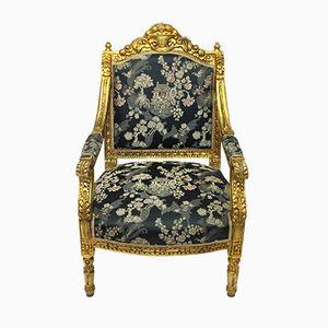 Antique Gilt & Blue Jacquard Armchair