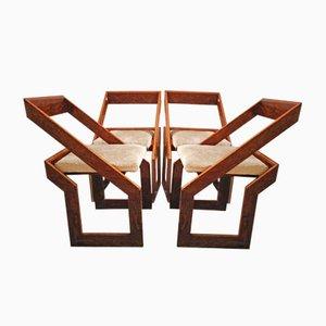 Sillas vintage geométricas de madera, años 70. Juego de 4