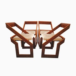 Vintage Geometric Wooden Chairs, 1970s, Set of 4