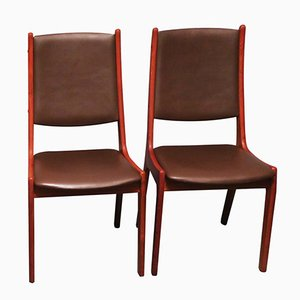 Teak & Leather Dining Chairs by Kai Kristiansen for KS Møbler, 1960s, Set of 2
