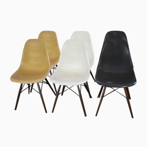 Set of 6 Walnut & Fiberglass Chairs by Charles & Ray Eames for Herman Miller