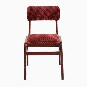 Sedia impilabile vintage in velluto rosso, anni '70