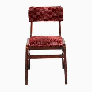 Vintage Red Velvet Stackable Chair, 1970s