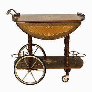 Mid-Century Italian Marquetry Bar Trolley