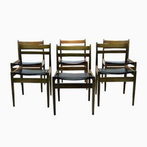 Chaises Vintage en Noyer par Jos De Mey pour Van Den Berghe Pauvers, Set de 6