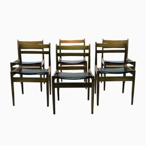Vintage Walnut Chairs by Jos De Mey for Van Den Berghe Pauvers, Set of 6