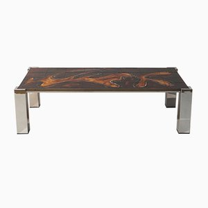 Mid-Century Coffee Table with Chromed Frame & Tiles, 1960s