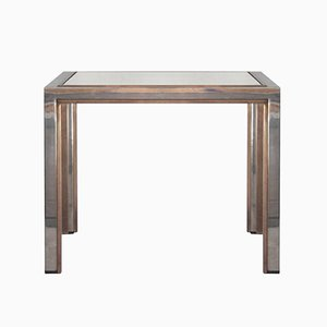 Chromed Steel, Brass & Smoked Glass Side Table, 1970s