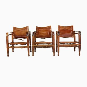 Chaises Safari en Cuir, 1970s, Set de 3