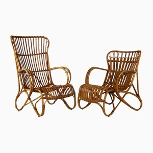 Rattan Lounge Chairs by Dirk Van Sliedregt for Rohé Noordwolde, 1960s
