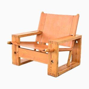Pine & Saddle Leather Lounge Chair by Ate van Apeldoorn for Houtwerk Hattem, 1970s