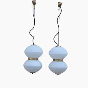 Vintage Italian Pendant Lamps, 1960s, Set of 2