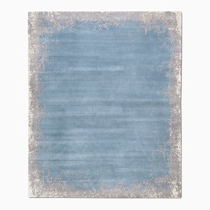 Modern Border Rug in Dark Rain from Knots Rugs
