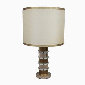 Lámpara de mesa vintage de metal y plexiglás, años 70