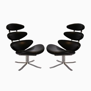 Model EJ 5 Corona Easy Chairs by Poul M. Volther for Erik Jørgensen, 1980s, Set of 2