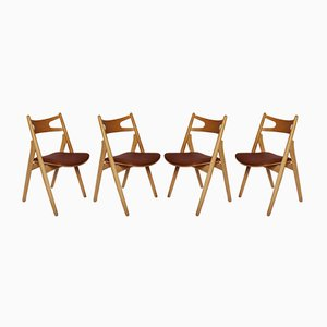 Model CH29 Sawbuck Chairs by Hans J. Wegner for Carl Hansen & Son, 1970s, Set of 4