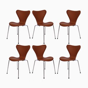 Model 3107 Cognac Leather Chairs by Arne Jacobsen for Fritz Hansen, 1967, Set of 6