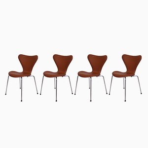 Model 3107 Cognac Leather Chairs by Arne Jacobsen for Fritz Hansen, 1967, Set of 4