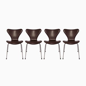 Model 3107 Dark Brown Leather Chairs by Arne Jacobsen for Fritz Hansen, 1967, Set of 4
