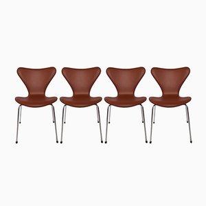 Modell 3107 Leder Stühle von Arne Jacobsen für Fritz Hansen, 1967, 4er Set