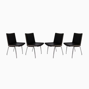 Model AP37 Back Leather Airport Chairs by Hans J. Wegner for A.P. Stolen, 1950s, Set of 4