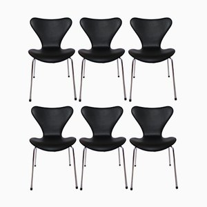 Model 3107 Black Leather Chairs by Arne Jacobsen for Fritz Hansen, 1967, Set of 6