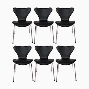 Sillas modelo 3107 de cuero negro de Arne Jacobsen para Fritz Hansen, 1967. Juego de 6