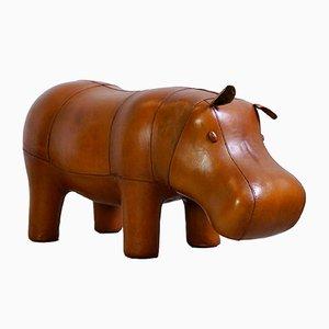Reposapiés en forma de hipopótamo grande de cuero de Dimitri Omersa, años 80