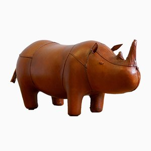 Small Leather Rhinoceros Footstool by Dimitri Omersa, 1980s