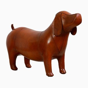 Large Leather Dog Footstool by Dimitri Omersa, 1980s