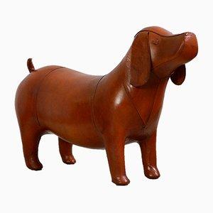 Reposapiés en forma de perro grande de cuero de Dimitri Omersa, años 80