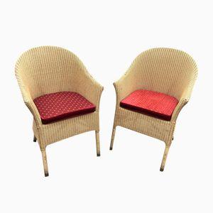 Vintage Korbgeflecht Stühle, 1980er, 2er Set