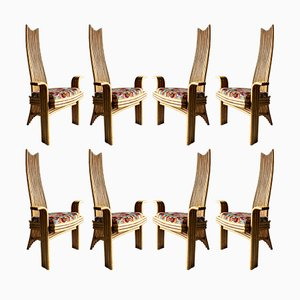 Bambus Esszimmerstühle mit hoher Lehne, 1970er, 8er Set