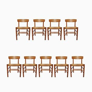 Model J39 Folkestole Chairs by Børge Mogensen for FDB, 1970s, Set of 9