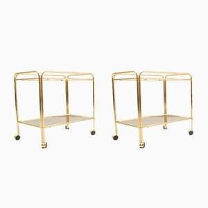 Golden Hollywood Regency Service Trolleys with Smoked Glass Tops, 1960s, Set of 2