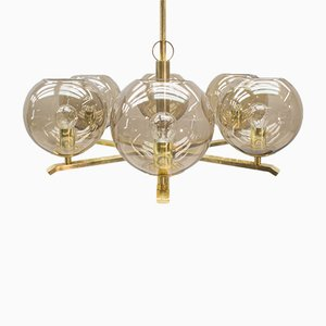 Chandelier in Brass and Smoked Glass, 1960s