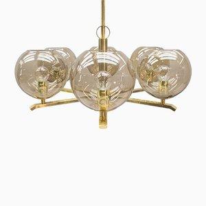 Lámpara de araña de latón y cristal ahumado, años 60